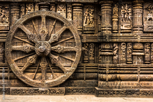 Vászonkép Carved chariot wheel on Konark Sun Temple, Odisha, India