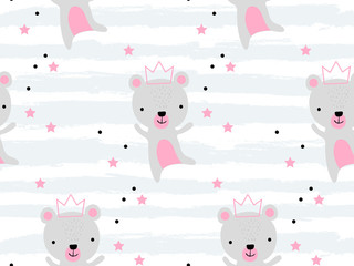 Tapeta Seamless pattern with cute bear princess in crown. Creative childish texture. Great for fabric, textile Vector Illustration. Perfect for wallpaper, pattern fill, web page background, surface textures