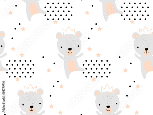 Seamless pattern with cute bear princess in crown Canvas Print