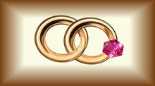 Vector Illustration In The Form Of Two Wedding Rings With One Ruby Gold, Isolated, On A Gold Background