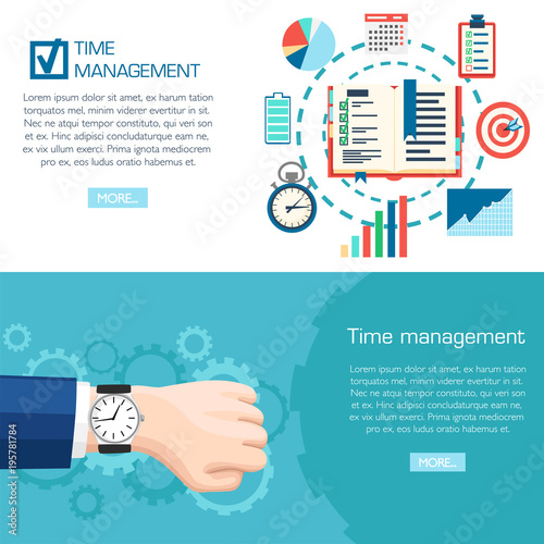Time management planning concept  Wrist watch on hand