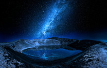 Milky Way And Lake In The Volcano Crater, Iceland