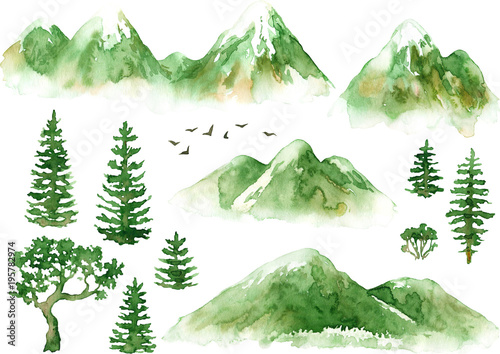 Fotografie, Obraz  Raster hand drawn watercolor set of mountains and trees isolated on white