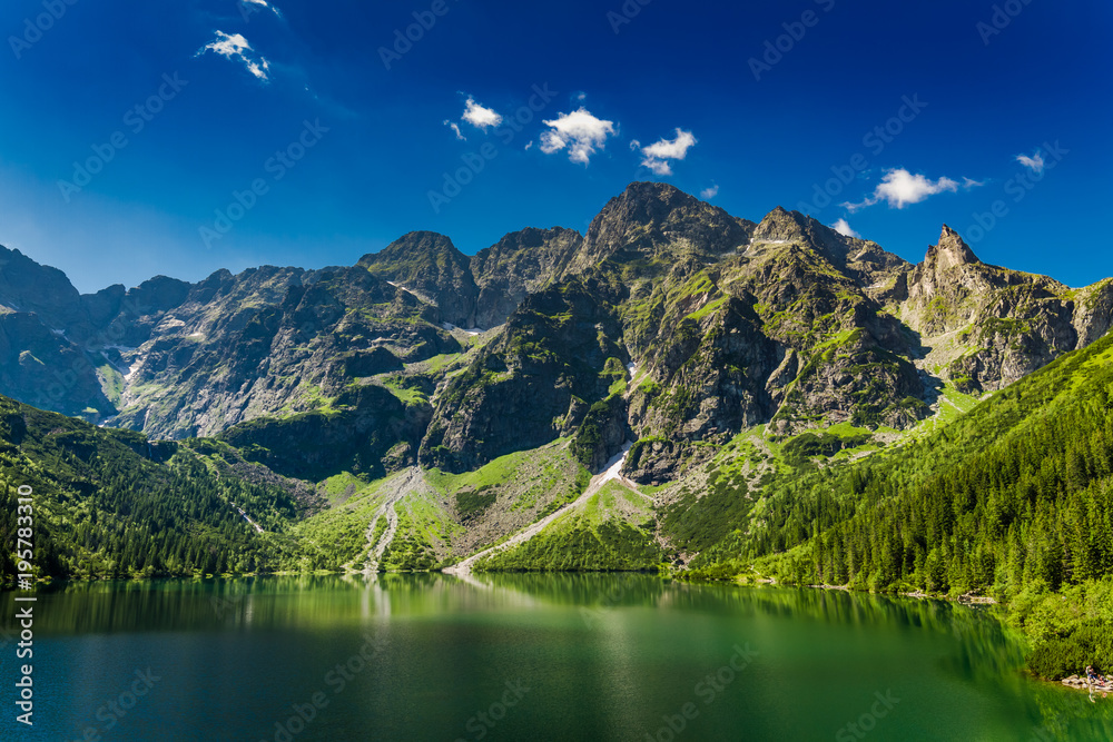Fototapety, obrazy: Famous big pond in the Tatra mountains at sunrise, Poland