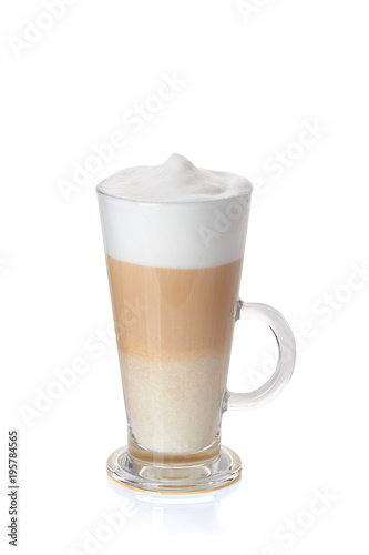 Fotomural Glass cup of coffee latte on white