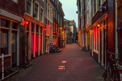 Red light district in Amsterdam, the Netherlands, night view Canvas Print