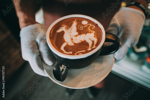 Cuadros en Lienzo coffee latte art espresso in coffee shop vintage color tone