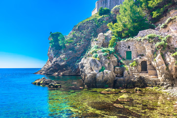 Dubrovnik beach Adriatic Coast. / Scenic view at summer landscape in Dubrovnik,, Adriatic Coast and marble hidden beach, Croatia Europe.