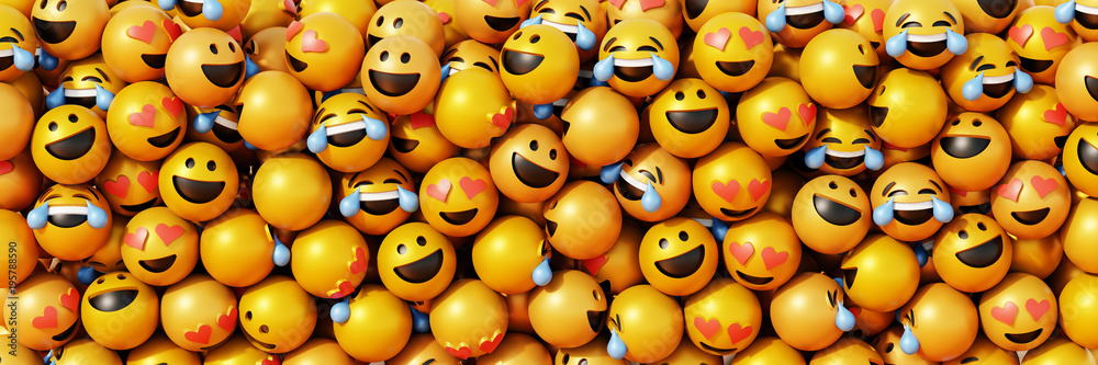 Fototapety, obrazy: Infinite emoticons 3d rendering background, social media and communications concept