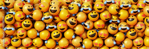 Foto Infinite emoticons 3d rendering background, social media and communications conc