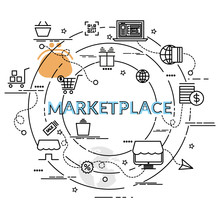 Flat Colorful Design Concept For Marketplace. Infographic Idea Of Making Creative Products..Template For Website Banner, Flyer And Poster.