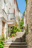 Fototapeta Na drzwi - Hvar, Croatia. Marble stairs in residential part of old town.