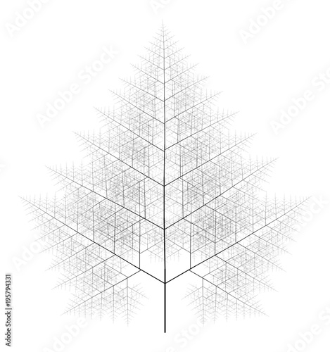 Valokuva  Flat Vector Computer Generated Self-Similar L-system Branching Tree Fractal  - G