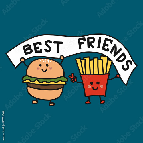 Hamburger And French Fries Best Friend Cartoon Vector Illustration