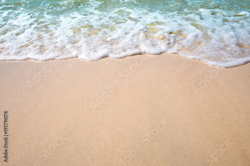 Keuken foto achterwand Strand Top view tropical beach water wave background with seaside. Background summer time season