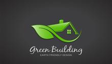 Eco Friendly Green House Logo. Vector Design