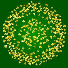 Naklejka St patricks day background with shamrock. Lucky trefoil confetti. Glitter frame of clover leaves. Template for special business offer, banner, flyer. Festal st patricks day backdrop.