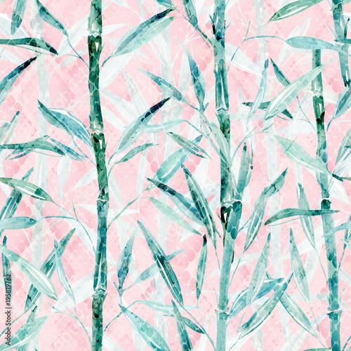 Fototapeta na wymiar Seamless Botanical pattern. Bamboo branches on a pink background.