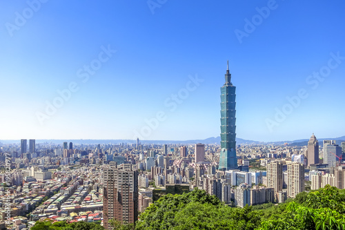 Aerial view over Taipei City with Taipei 101 Skyscraper, capital city of Taiwan Wallpaper Mural