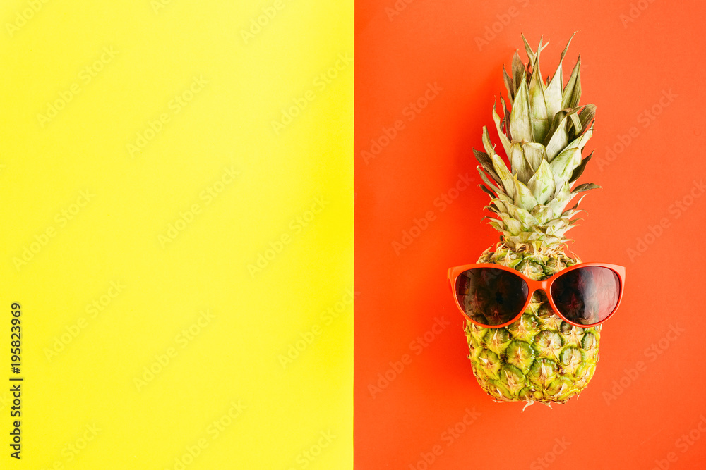 Fototapety, obrazy: Top view pineapple in sunglasses on colorful background. Flat lay. Summer Background concept