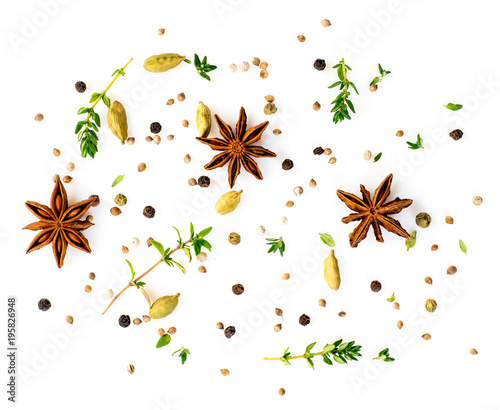 Set of spices on white background, top view Canvas Print