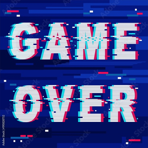 Deurstickers Draw Game Over Glitch Text Distorted