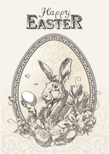 Vintage Easter Postcard With Rabbit, With Little Chicken And Flowers, Framed Oval Frame