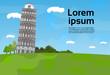 Pisa Tower Landscape Famous Italy Landmark View Flat Vector Illustration