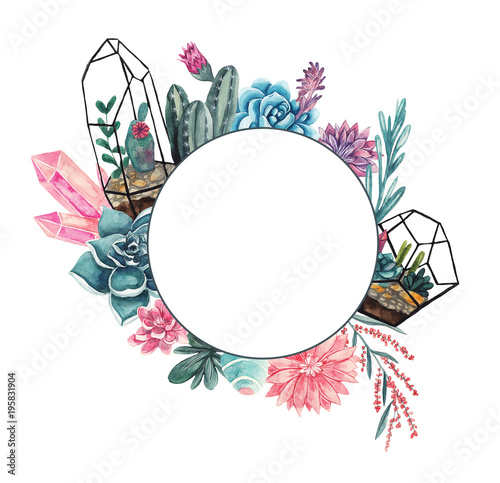 Geometric frame with succulents, gemstones and floral elements Canvas-taulu