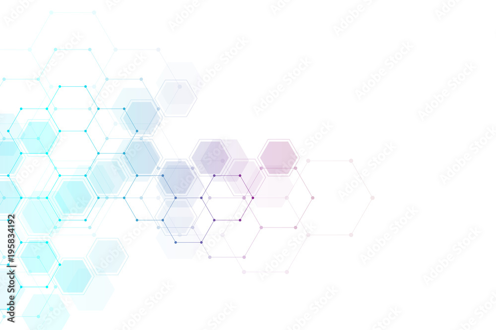 Fototapety, obrazy: Geometric abstract background with hexagon molecule.