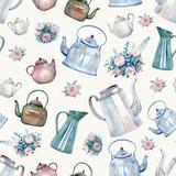 Szwu z rocznika czajniki, czajniki i bukiety róż malowane akwarelą. Podwieczorek na herbatę, tapety kuchenne, papier do pakowania prezentów, scrapbooking. - 195834342