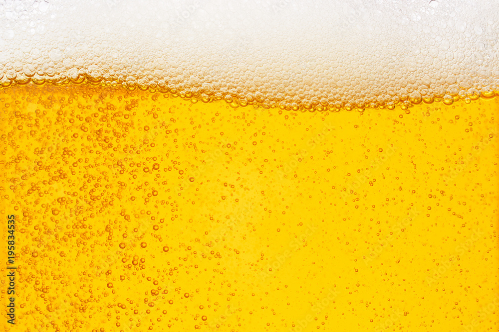 Fototapety, obrazy: Pouring beer with bubble froth in glass for background on front view wave curve shape