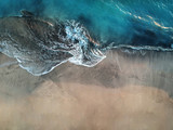 Fototapeta See - Aerial view of ocean waves and fantastic beach in the Canary Island