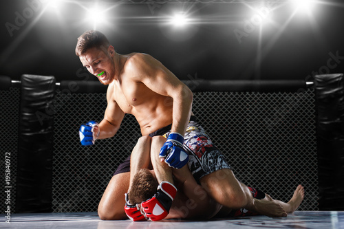 Photo  mixed fighting on arena