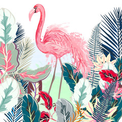 Fototapeta Do hotelu Tropical vector illustration with pink flamingo and tropical leafs