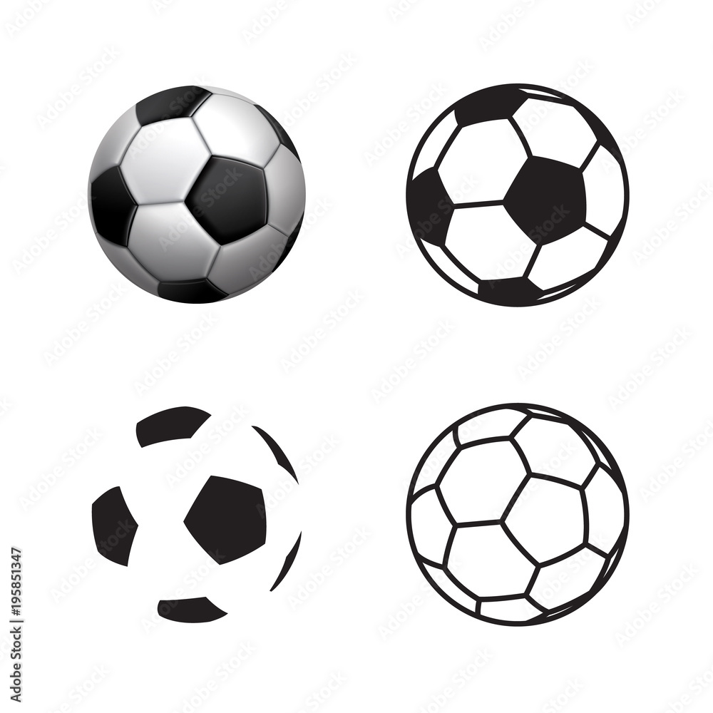 Fototapety, obrazy: Football ball Icon , flat style , 3D style, single line style  .Soccer ball pictogram. Football symbol  Vector illustration, EPS10.