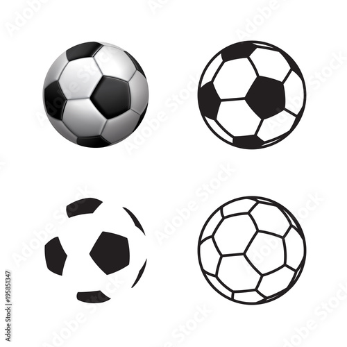 Tuinposter Bol Football ball Icon , flat style , 3D style, single line style .Soccer ball pictogram. Football symbol Vector illustration, EPS10.