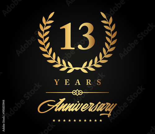 13 Years Anniversary Gold Buy This Stock Vector And Explore