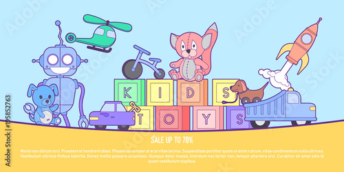 Cute kids toys shop banner ...