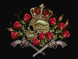 FototapetaEmbroidery skull in crown, crossed guns and roses. Template for clothes, textiles, t-shirt design. Criminal embroidery, king of pirates and revolvers