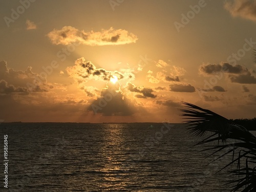 In de dag Ochtendgloren caribbean Belize tropical sunrise
