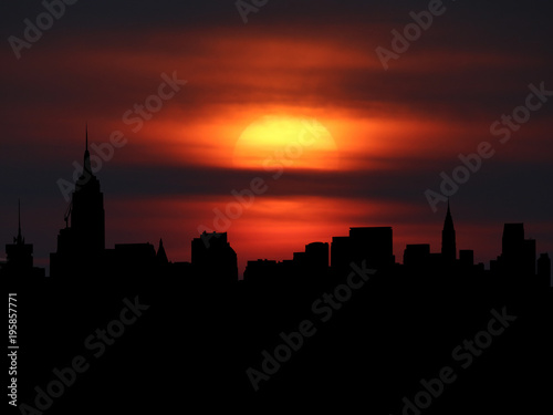 Fotografía  Midtown Manhattan skyline silhouette with sunset illustration