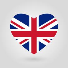 UK Flag In The Heart Shape. Br...