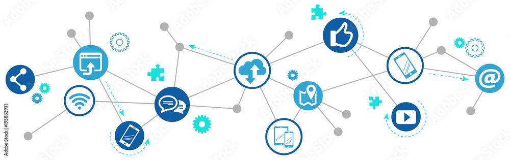 Fototapeta mobile communication / social media marketing challenges design - vector illustration