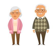 Funny Cartoon Pensioners In Ca...