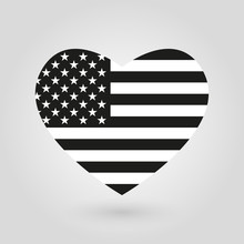 US Heart Flag Icon. American B...