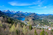 Aerial view of Schwangau with Alpsee lake, Bavaria, Germany