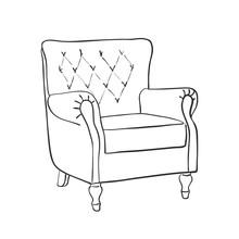 Line Art Retro Armchair, Vector