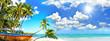 canvas print picture Ferien, Tourismus, Sommer, Sonne, Strand, Meer, Glück, Entspannung, Meditation: Traumurlaub an einem einsamen, karibischen Strand :)