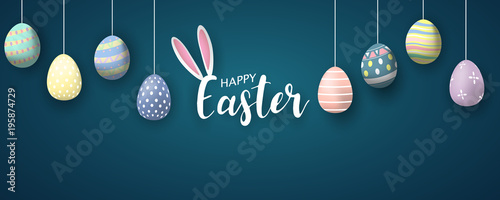 Happy Easter background. Vector illustration. Canvas Print